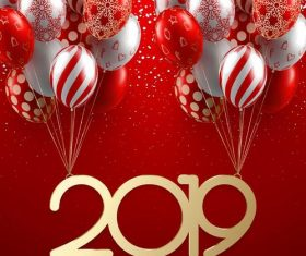 Floral balloon with 2019 new year background vector
