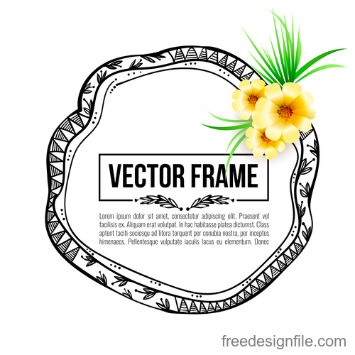 Floral decorative frame design vector material 01