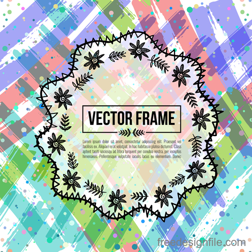 Floral decorative frame design vector material 04