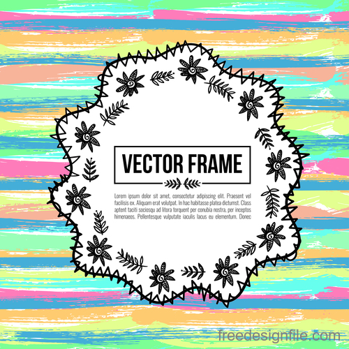 Floral decorative frame design vector material 06