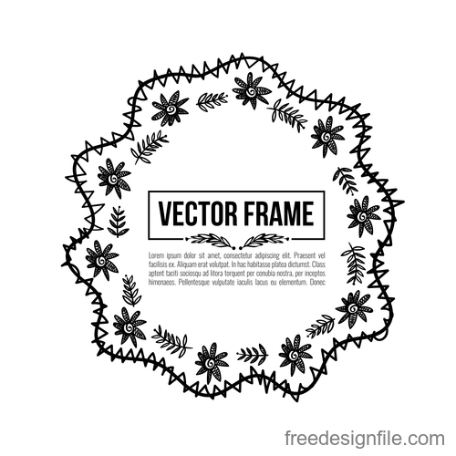 Floral decorative frame design vector material 07