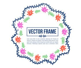 Floral decorative frame design vector material 08