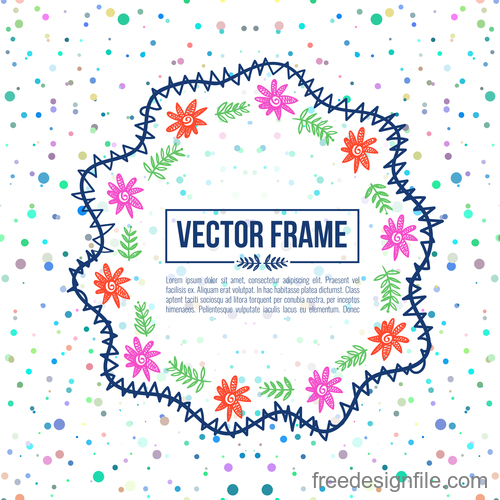 Floral decorative frame design vector material 09