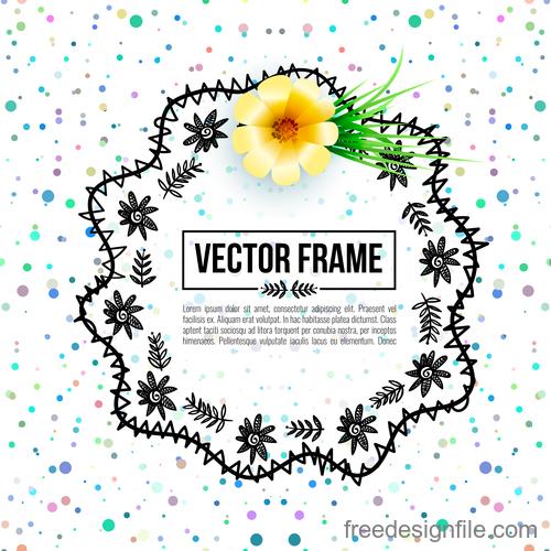 Floral decorative frame design vector material 10