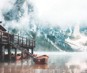 Foggy Lago di Braies in the Morning Stock Photo