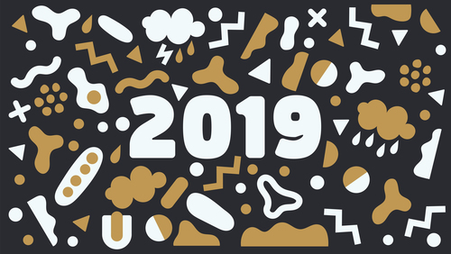 Funny 2019 new year background design vector 01