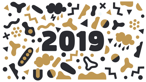 Funny 2019 new year background design vector 03