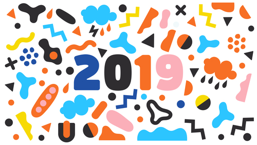 Funny 2019 new year background design vector 04