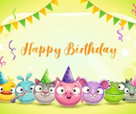 Funny cartoon animal with birthday card vector