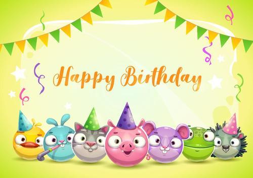 Funny cartoon animal with birthday card vector