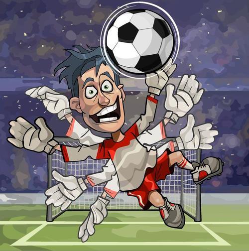 Funny cartoon football players vector