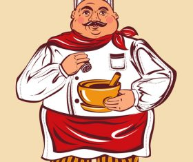 Funny chef hand drawn vector