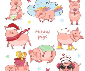 Funny pig cute vector