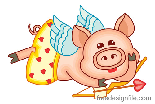 Funny pig with valentines day vectors 01
