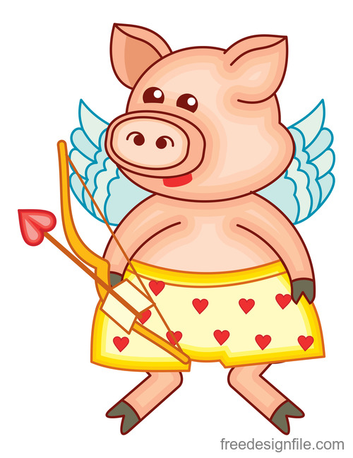 Funny pig with valentines day vectors 02