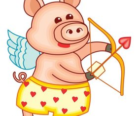 Funny pig with valentines day vectors 03