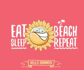 Funny sun with summer background vectors 01