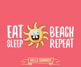 Funny sun with summer background vectors 02