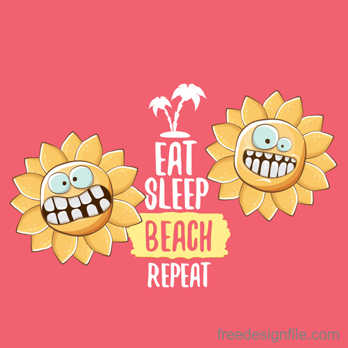Funny sun with summer background vectors 03