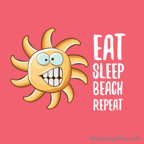 Funny sun with summer background vectors 04