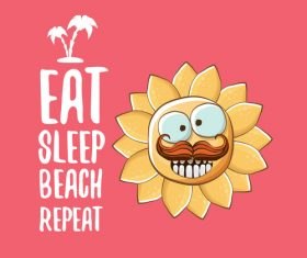 Funny sun with summer background vectors 05