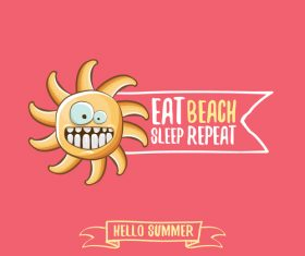 Funny sun with summer background vectors 06