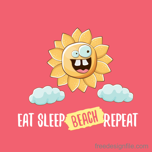 Funny sun with summer background vectors 07