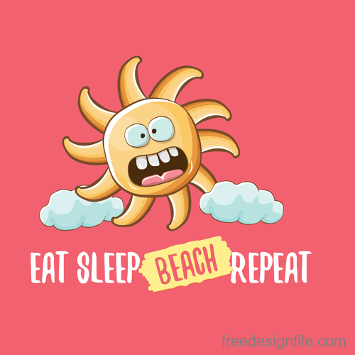 Funny sun with summer background vectors 08