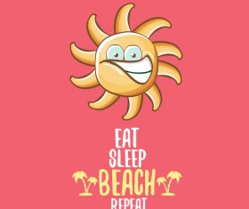 Funny sun with summer background vectors 10