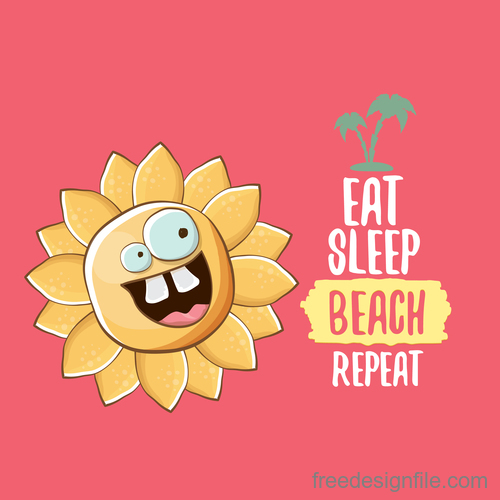Funny sun with summer background vectors 11