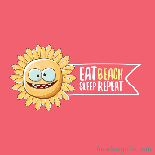 Funny sun with summer background vectors 12