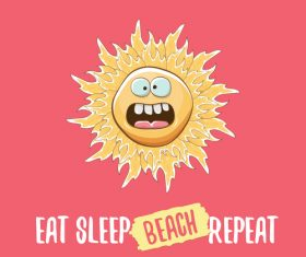 Funny sun with summer background vectors 13