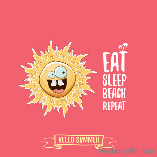 Funny sun with summer background vectors 15