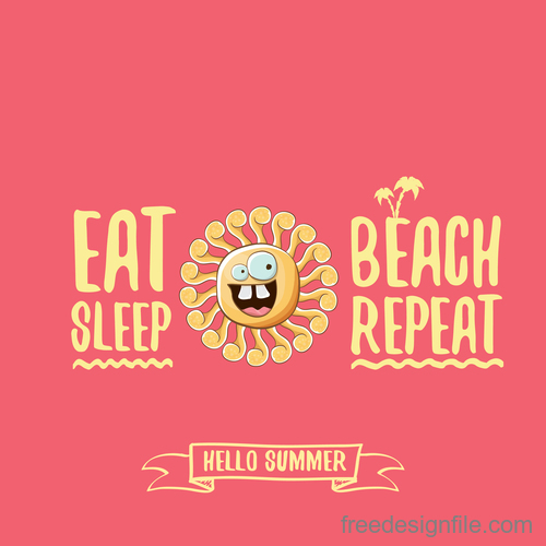Funny sun with summer background vectors 16