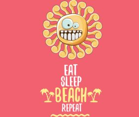 Funny sun with summer background vectors 19
