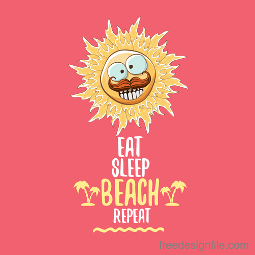 Funny sun with summer background vectors 21