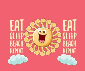 Funny sun with summer background vectors 22