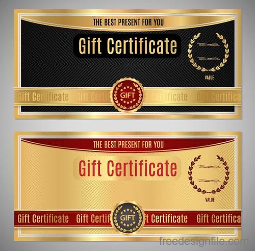 Gift certificate golden template vector