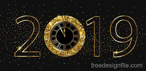 Golden 2019 new year Inscription with shiny clock vector