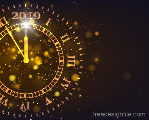 Golden 2019 new year clock with brown background vector