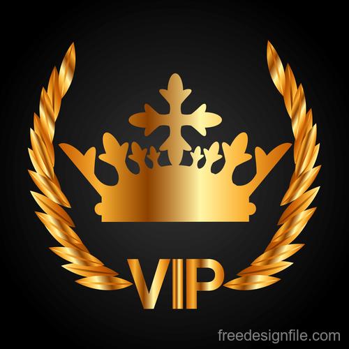 Golden VIP labels luxury design vector 01