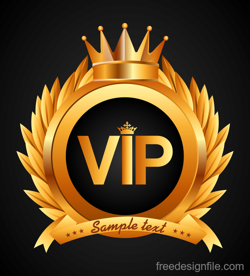 Golden VIP labels luxury design vector 02