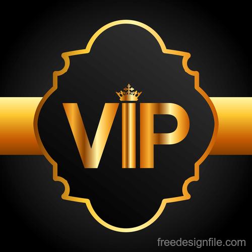 Golden VIP labels luxury design vector 03