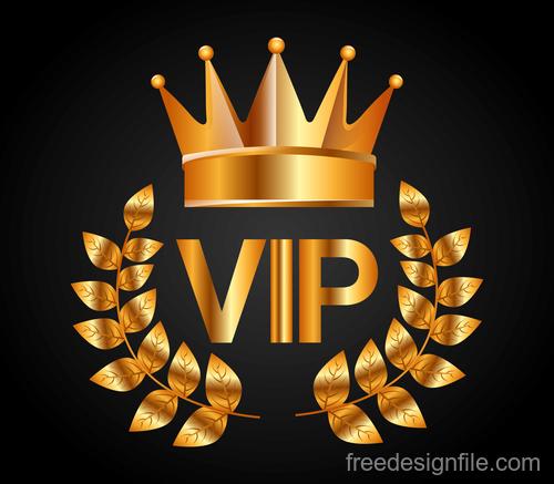 Golden VIP labels luxury design vector 04