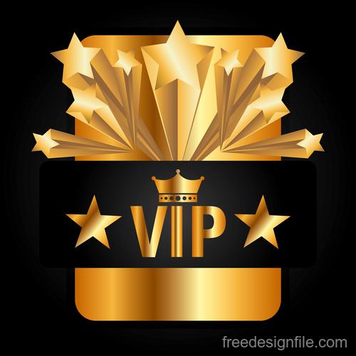 Golden VIP labels luxury design vector 05
