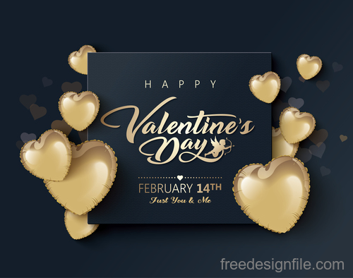 Golden air heart balloon with valentines day card vectors 03
