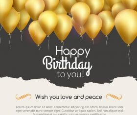 Golden balloons with barthday card vectors