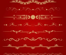 Golden borders decorative vector set 02
