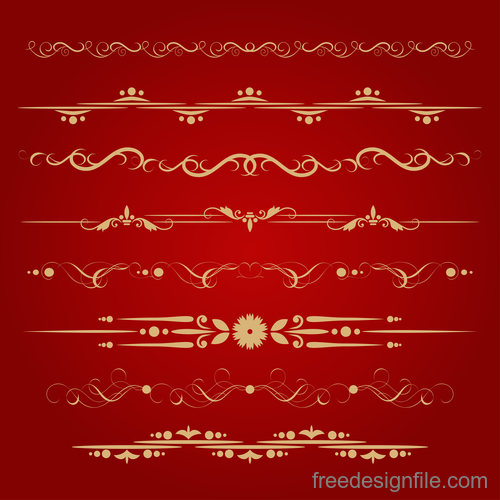 Golden borders decorative vector set 03
