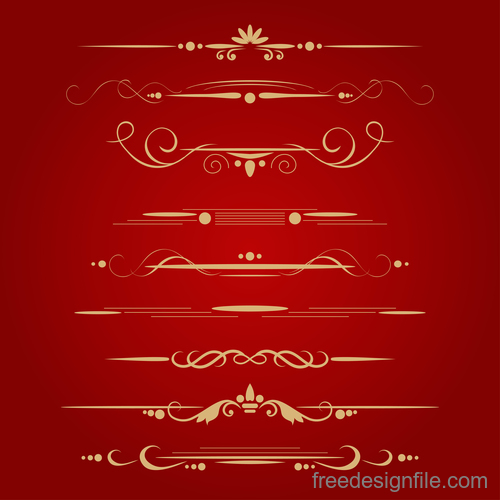 Golden borders decorative vector set 05